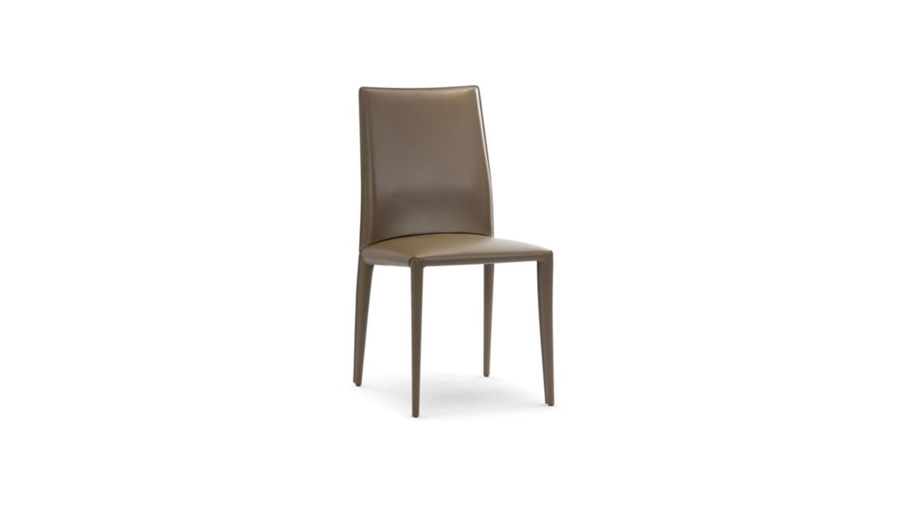 Padded Chair With Metal Structure Upholstered In Split Leather Thickness 2mm Saddle Edge To Edge Stitching Contrasting Or To Chair Chair Pads Dining Chairs