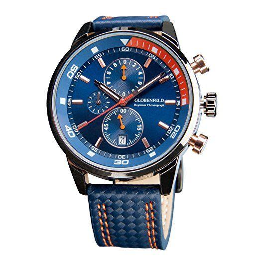 Globenfeld DayTimer para hombre cronógrafo reloj deportivo - azul 3  funciones pantalla analógica con cronómetro y Taquímetro - Correa de piel    resistente a ... 5616800d84c