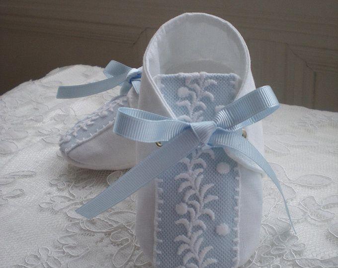 White Irish linen Baby Boy Christening Shoes Boy Baptism ...