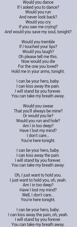 Enrique Iglesias Hero Bettemidler Great Song Lyrics Music Quotes Lyrics