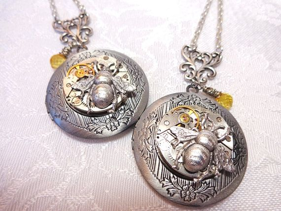 Steampunk Honey Bee Locket Necklace Vintage Watch by Treasurebay