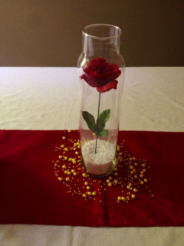 Beauty And The Beast Party Table Decor Rose And White Rocks From