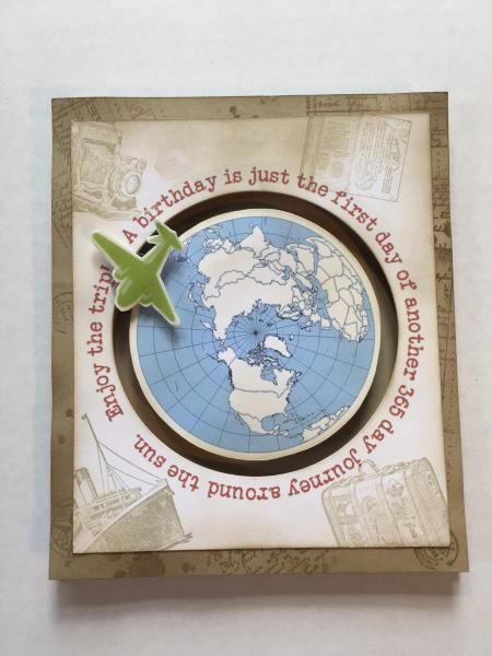 World Traveler Spinner Spiral Pop Up Front By Karjor Cards And Paper Crafts At Splitcoaststampers Cards Handmade Interactive Cards Inspirational Cards