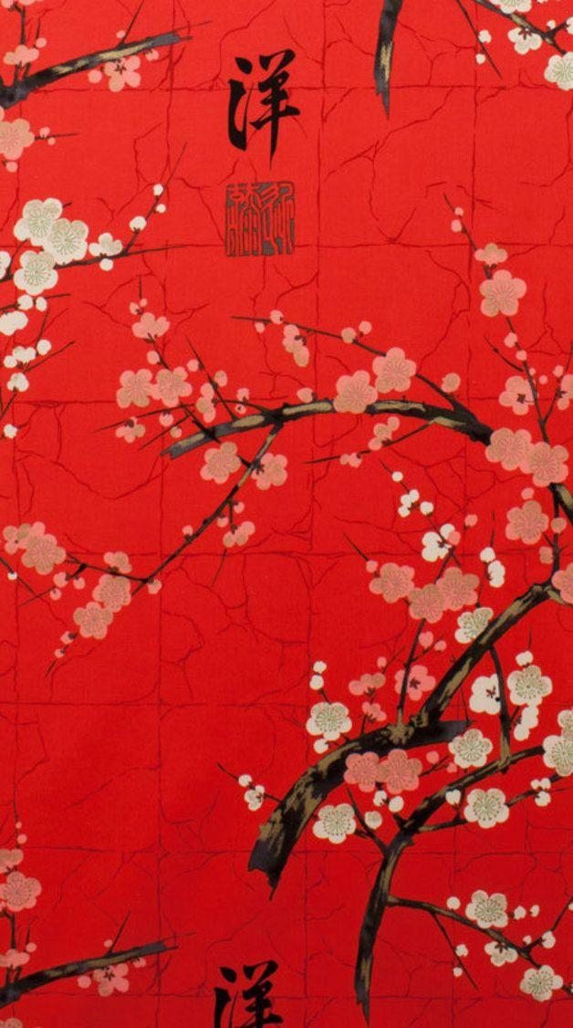 Stoff Japanische Motive Kirschbluten Sakura Rot Ein