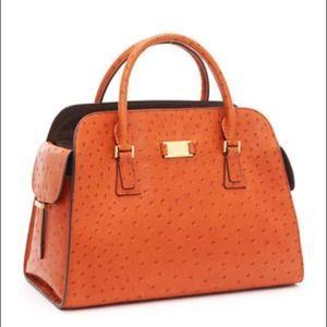 Michael Kors Handbags MK Gia Ostrich leather satchel