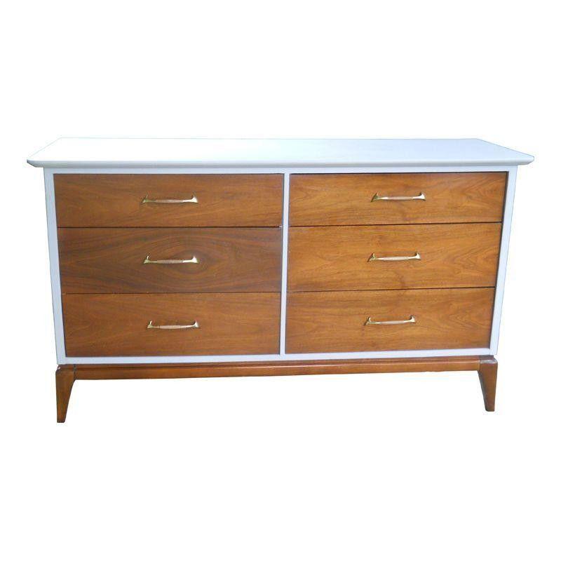 Vintage Wood Grey Mid Century 6 Drawer Dresser 500 Est Retail