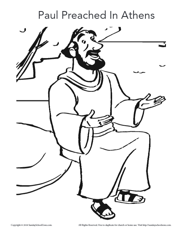 Paul Preached In Athens Coloring Page on Sunday School