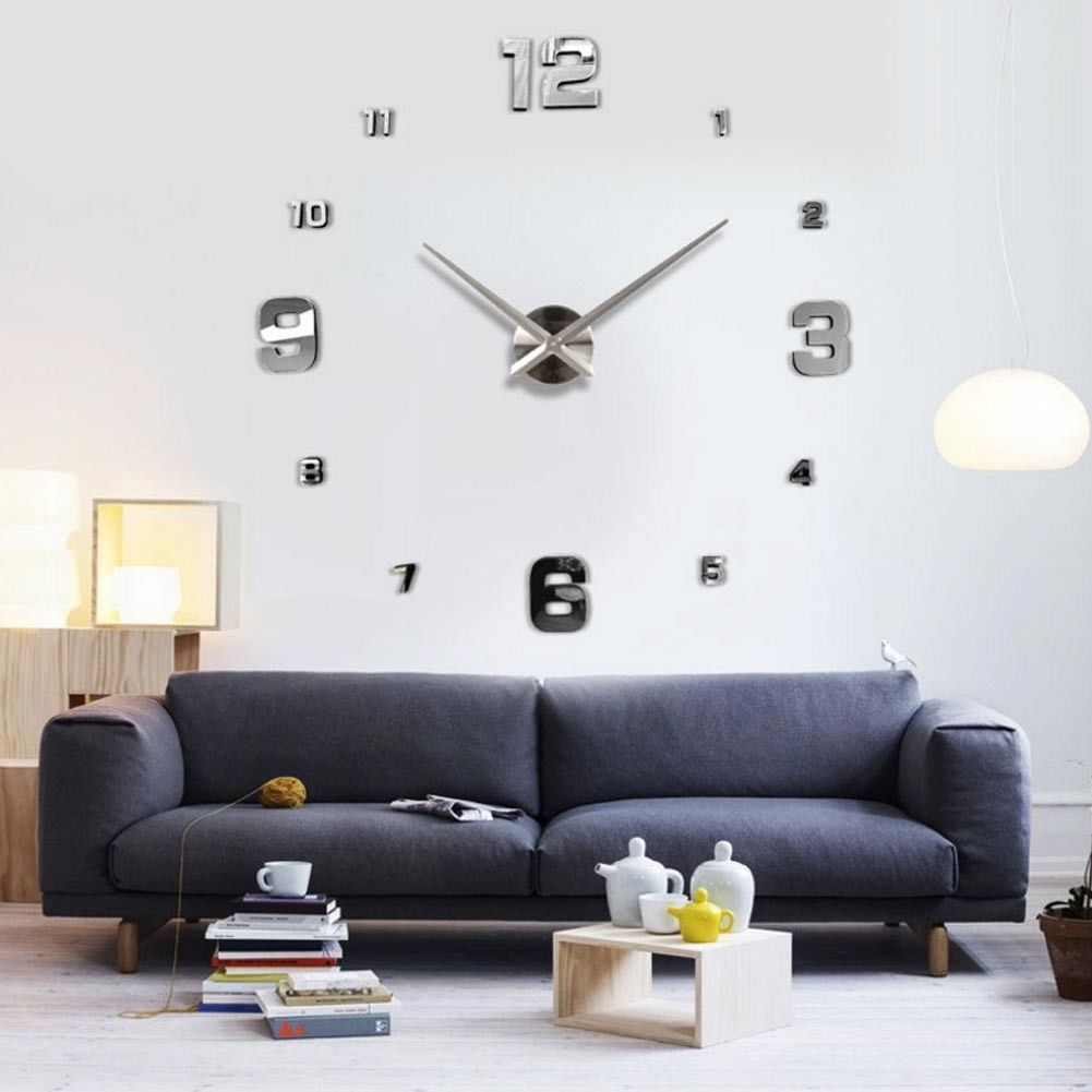 6.67 GBP - Diy 3D Wall Clock Numerals Large Size Mirrors Surface ...