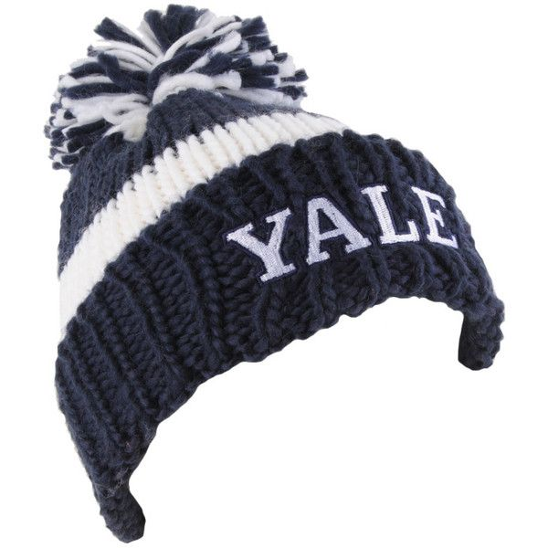 03364ad294fbfd Yale Pom Pom Beanie ($6.86) ❤ liked on Polyvore featuring accessories, hats,  beanies, women, forever 21 hats, stripe hat, pompom hat, forever 21 beanie  and ...