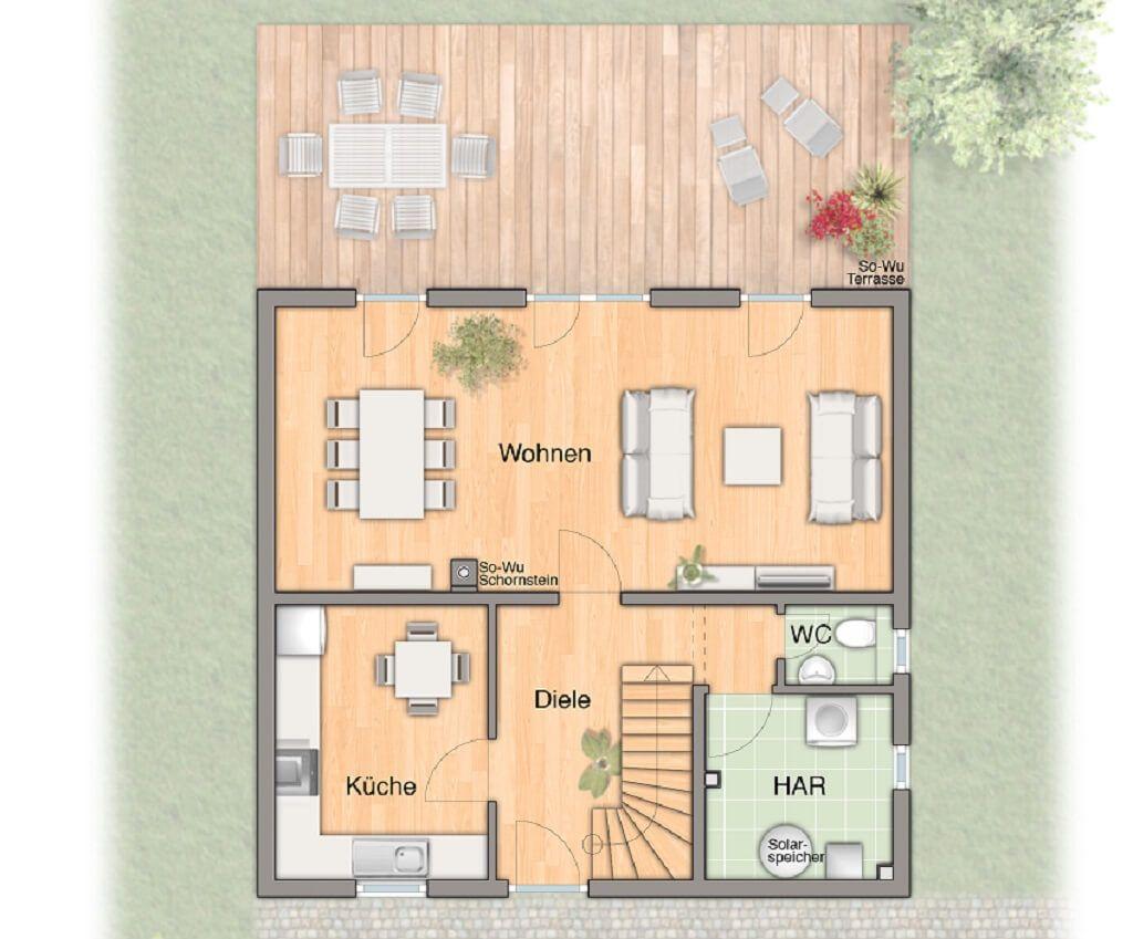 MASSIVHAUS Flair 113 Townu0026Country Haus * Grundriss Erdgeschoss Modernes  Wohnzimmer Mit Essbereich Küche Separat Abgetrennt Große