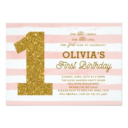 Pink gold first birthday invitation girl stripes stopboris Gallery