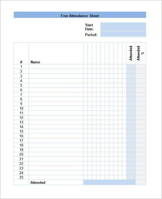 Employee Attendance Calendar  Attendance Calendar Attendance