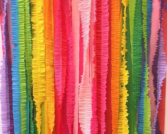Rainbow ruffled streamer backdrop photography wedding ceremony rainbow ruffled streamer backdrop photography wedding ceremony dessert table crepe paper curtain party teraionfo