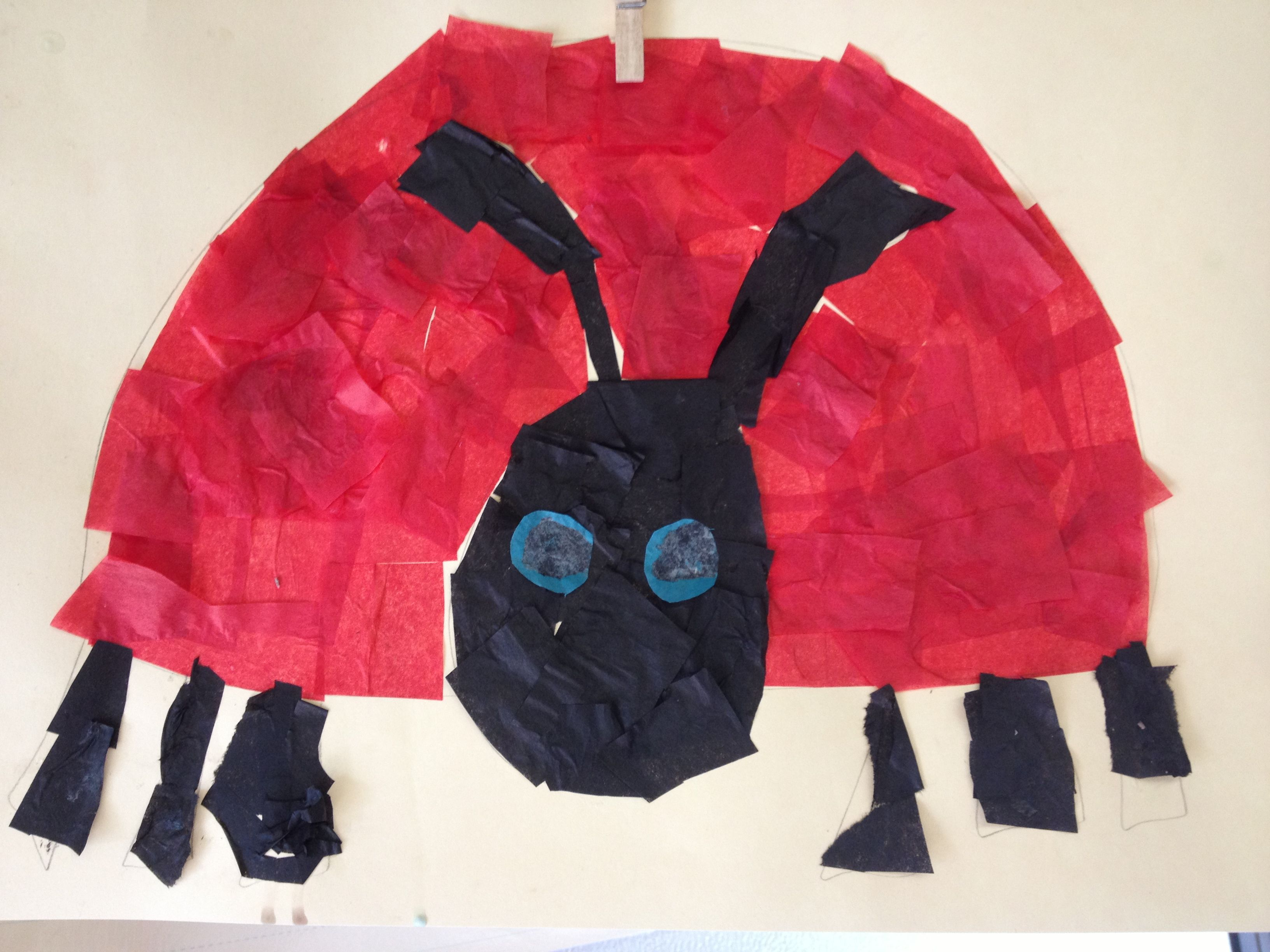 Very Grouchy Ladybug Tissue Paper Craft