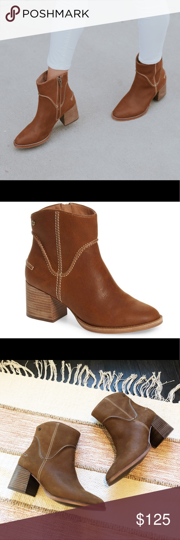 b4f67e5e119 Ugg Annie Chestnut Leather Booties Excellent pre owned condition ...