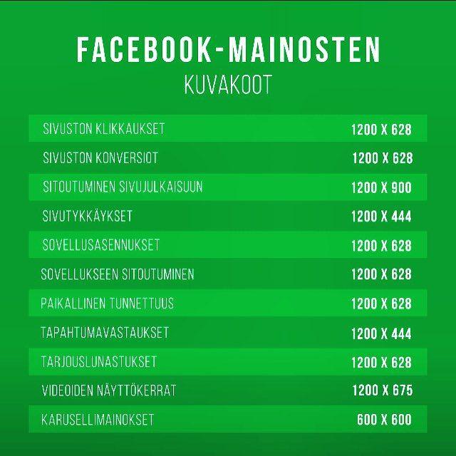 Facebook-mainosten kuvakoot! #facebook #mainonta #mainoskuva #sometoimisto #somevinkit #somefi #facebookvinkit #fbvinkit