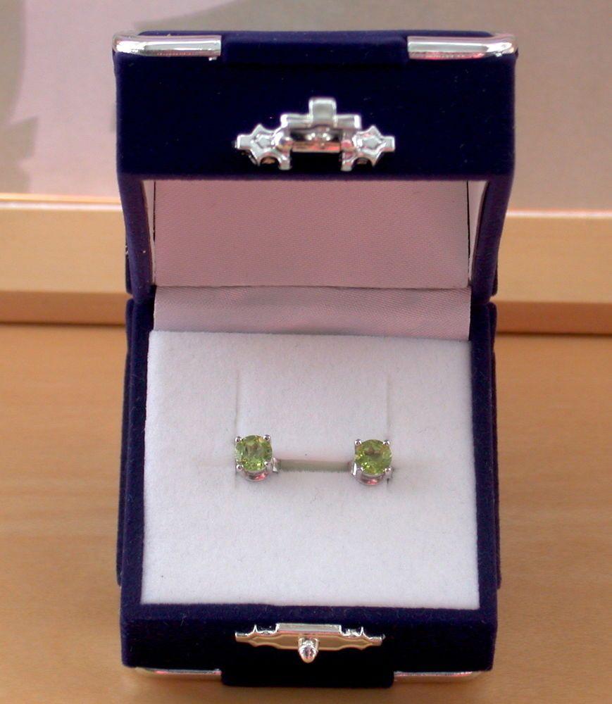 925 Peridot Stud Earrings Sterling Silver