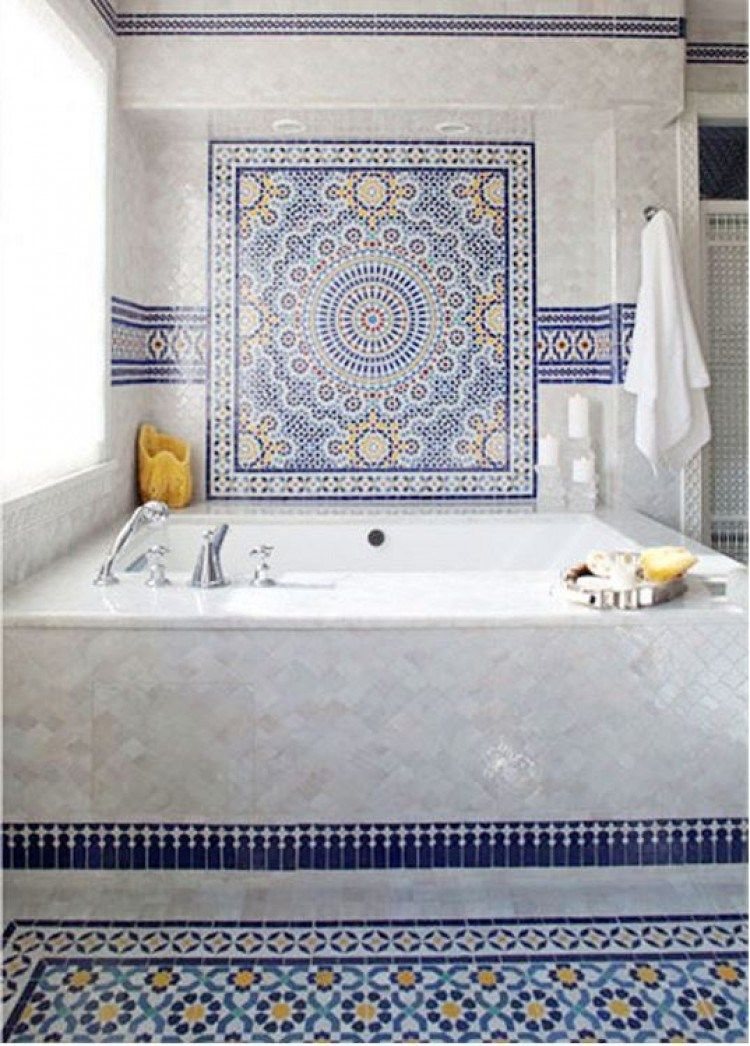 Beautiful Moroccan Tiles Inspire This Playful And Energetic Bathroom Tilesensations Moroccan Tile Bathroom Mosaic Bathroom Tile Moroccan Bathroom