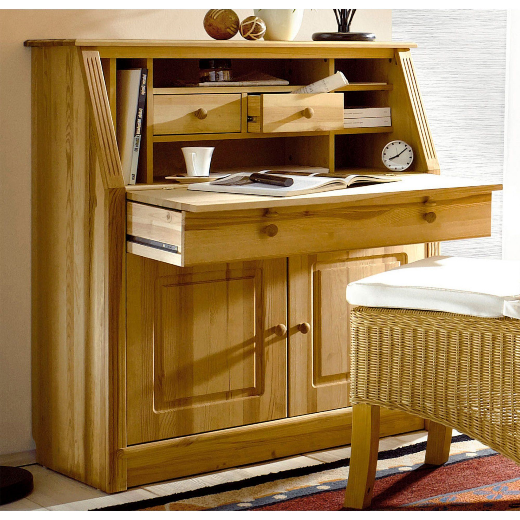 bureau secr taire en pin massif home affaire un charmant secr taire qui affiche un style. Black Bedroom Furniture Sets. Home Design Ideas