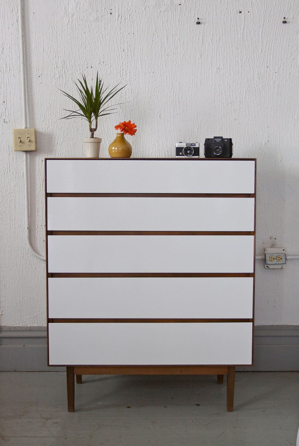 Painted Mid Century Modern Tall Dresser By Stanley 495 00 Via Etsy