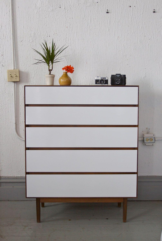 Best Painted Mid Century Modern Tall Dresser By Stanley 495 400 x 300