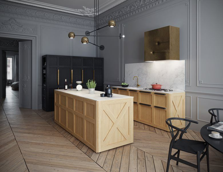 Unique Combination Of Modern Style Lighting And Country Inspired Cabinets