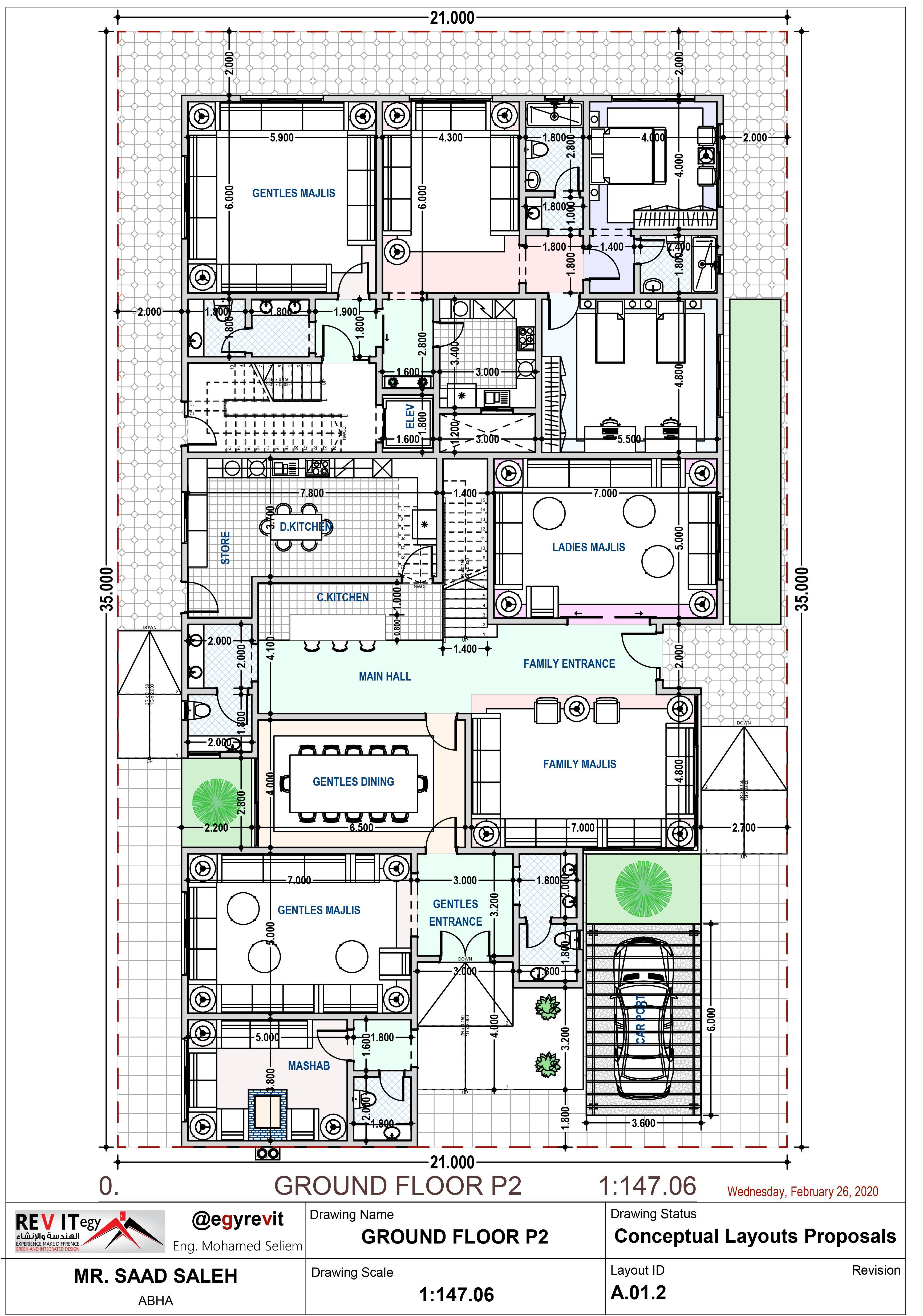 تصميم مميز لدور ارضي فيلا في الأمام و شقق في الخلف إيجي ريفيت Egyrevit New House Plans Duplex House Design Villa Design