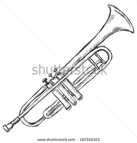 Vector Sketch Trumpet Stock Vector Vector Sketch Trumpet