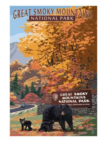 Park Entrance and Bear Family - Great Smoky Mountains National Park, TN Prints by Lantern Press at AllPosters.com