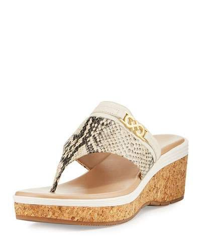 Lindy Grand Thong II Wedge Sandal, Snake | *Neiman Marcus