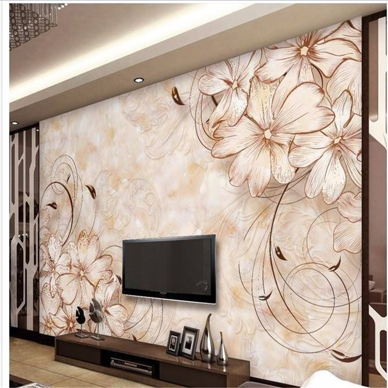 Beibehang wallpaper home decoration photo background art beach flower marble living room bedroom life wall covered
