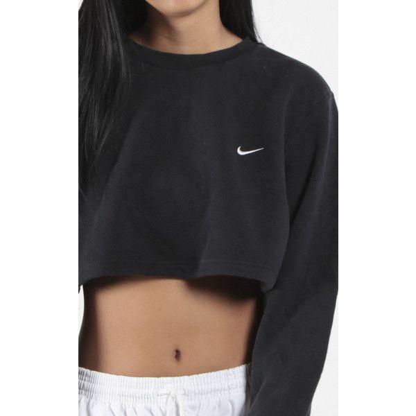Vintage Nike Crop Sweatshirt ($58) ❤ liked on Polyvore featuring tops, hoodies, sweatshirts, vintage sweatshirt, cropped sweatshirt, nike tops, nike and nike sweatshirts
