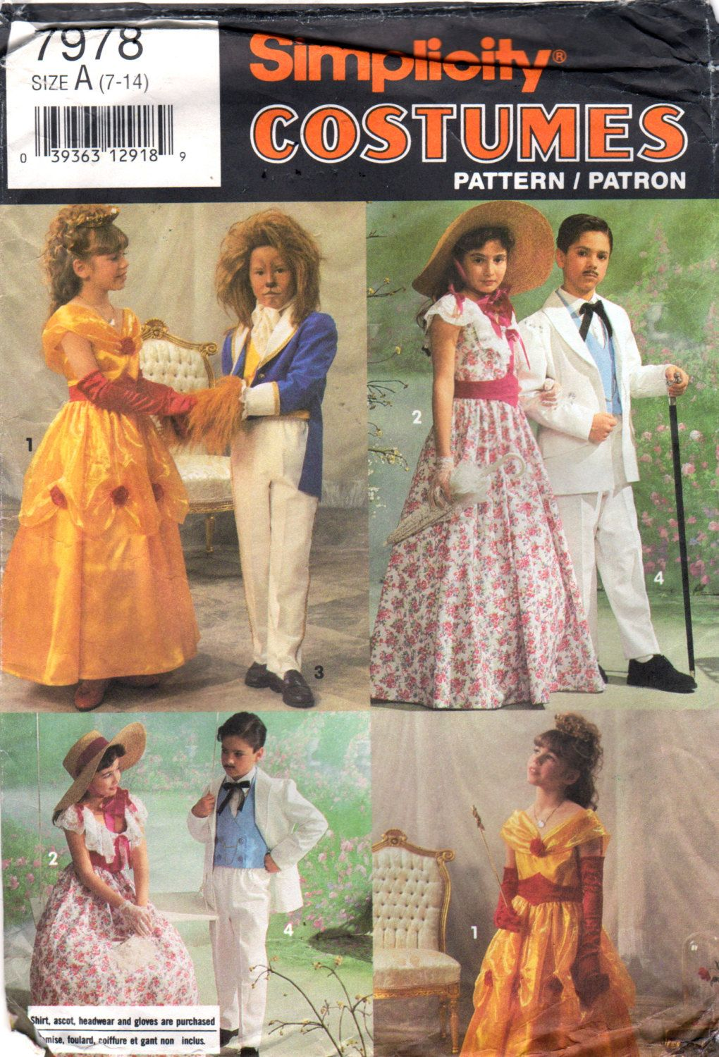 Simplicity 7978 0643 90s Boys Girls Teen Old South and by mbchills ...