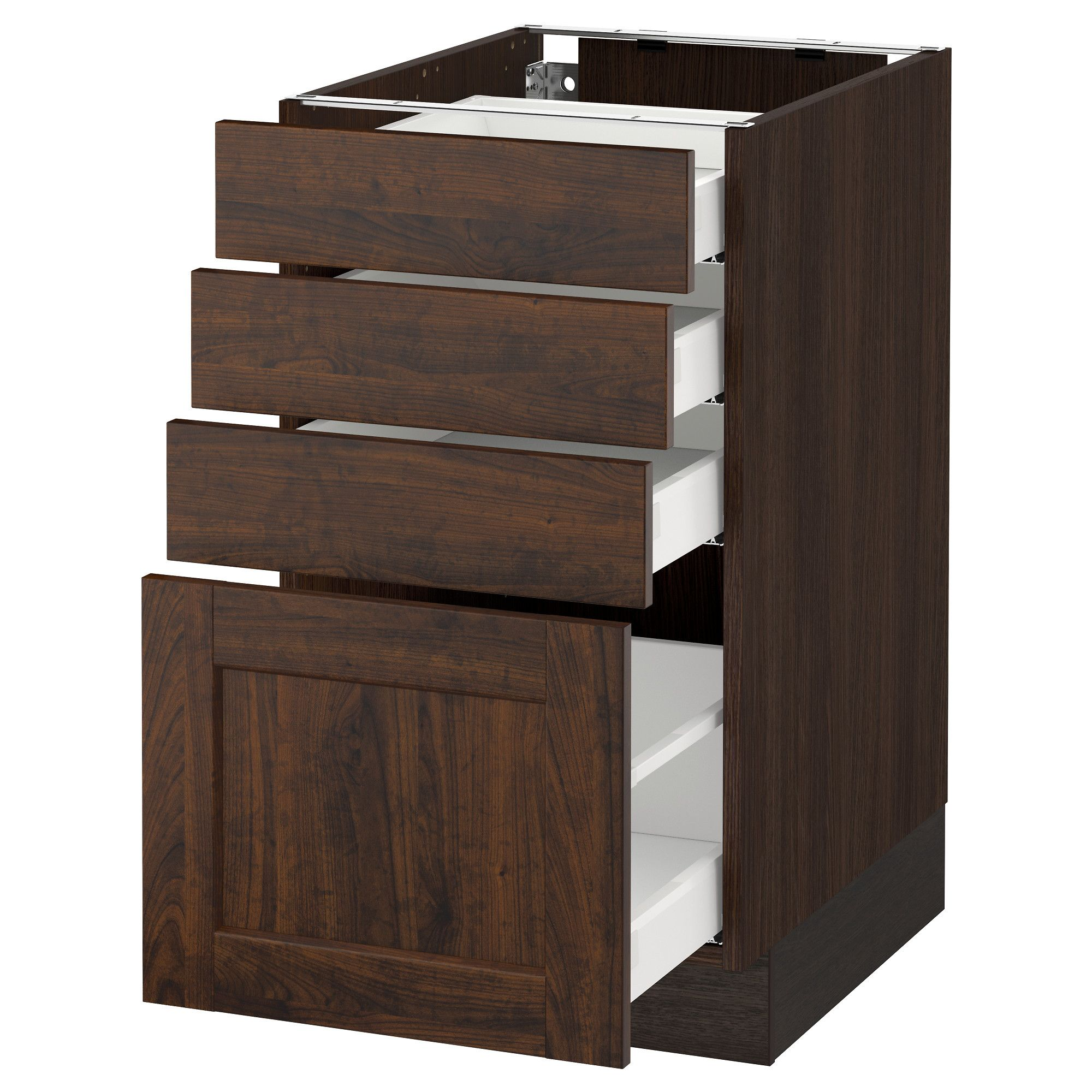 Ikea  Sektion Wood Effect Brown Base Cabinet With 4