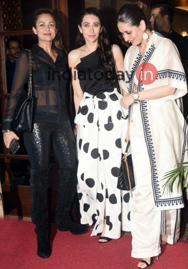 Amrita Arora Karishma And Kareena Kapoor At Malaika Arora Pre Xmas Party Indian Dresses Bollywood Fashion Clothes For Women