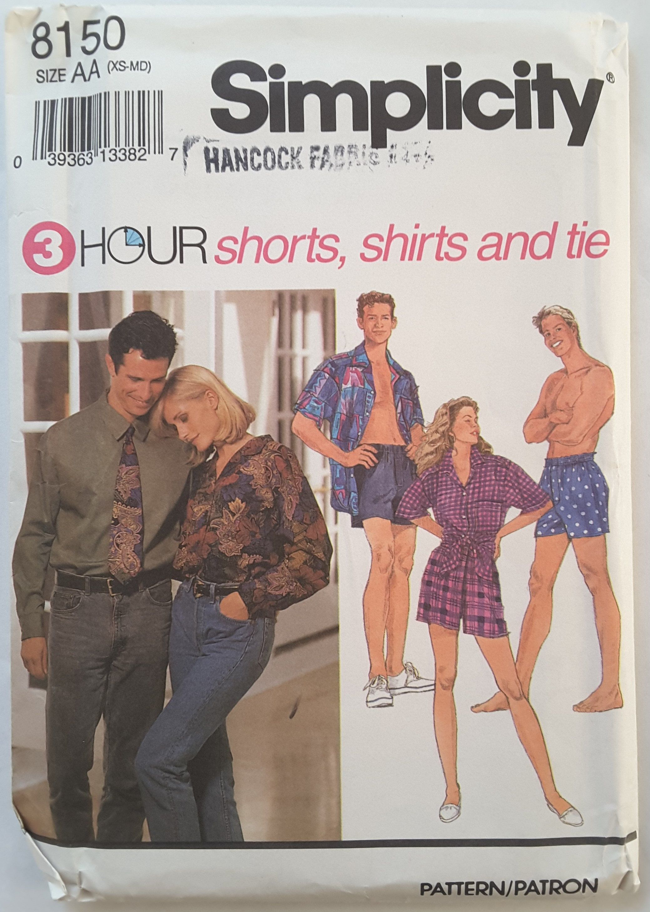 Shirt and Tie Misses Shorts MED Simplicity Uncut Size XS Factory Fold and Men/'s 8150 S Sewing pattern