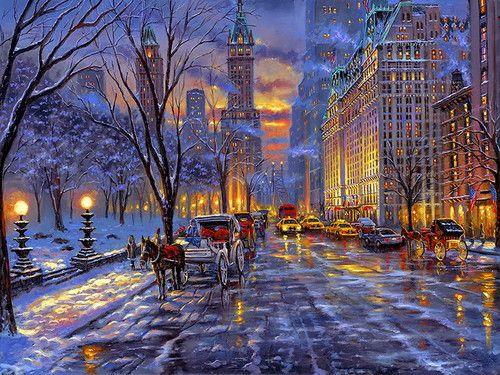 Christmas Wallpaper Christmas Wallpaper City Painting Winter Painting Winter Scenes