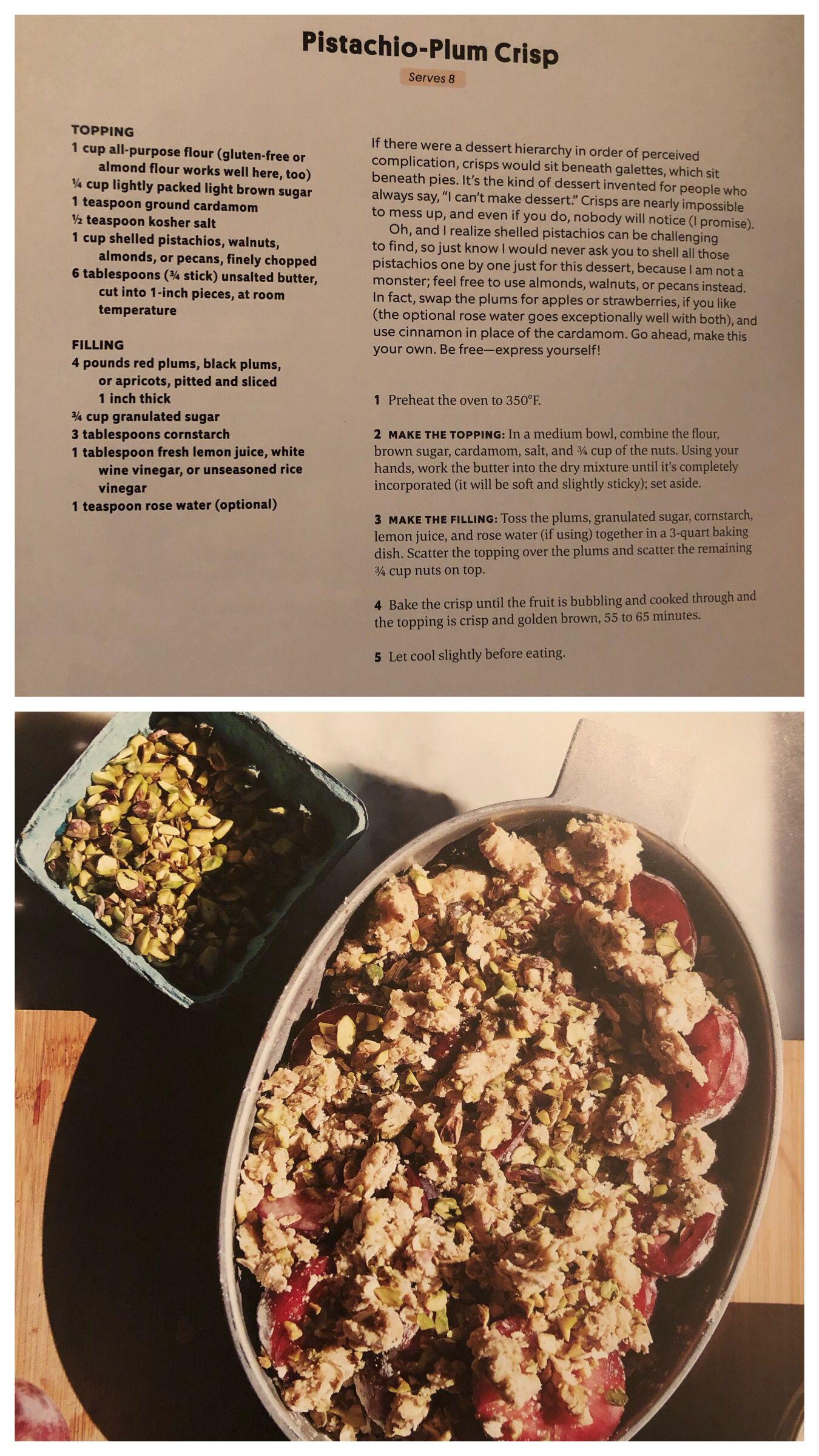 Pistachio Plum Crisp Plum Crisp Roman Food Fruit Desserts