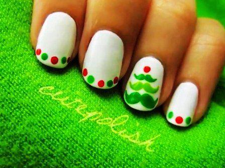 Christmas Tree Nail Art For Short Nails Cute Christmas Nail Art