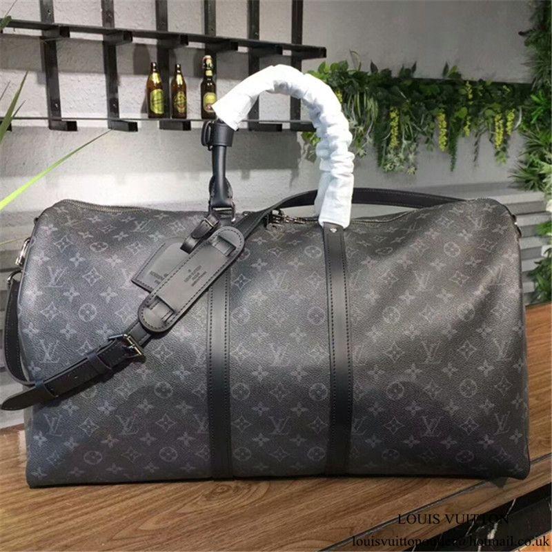 cb4c50085005 Louis Vuitton M40605 Keepall 55 Bandouliere Duffel Bag Monogram Eclipse  Canvas