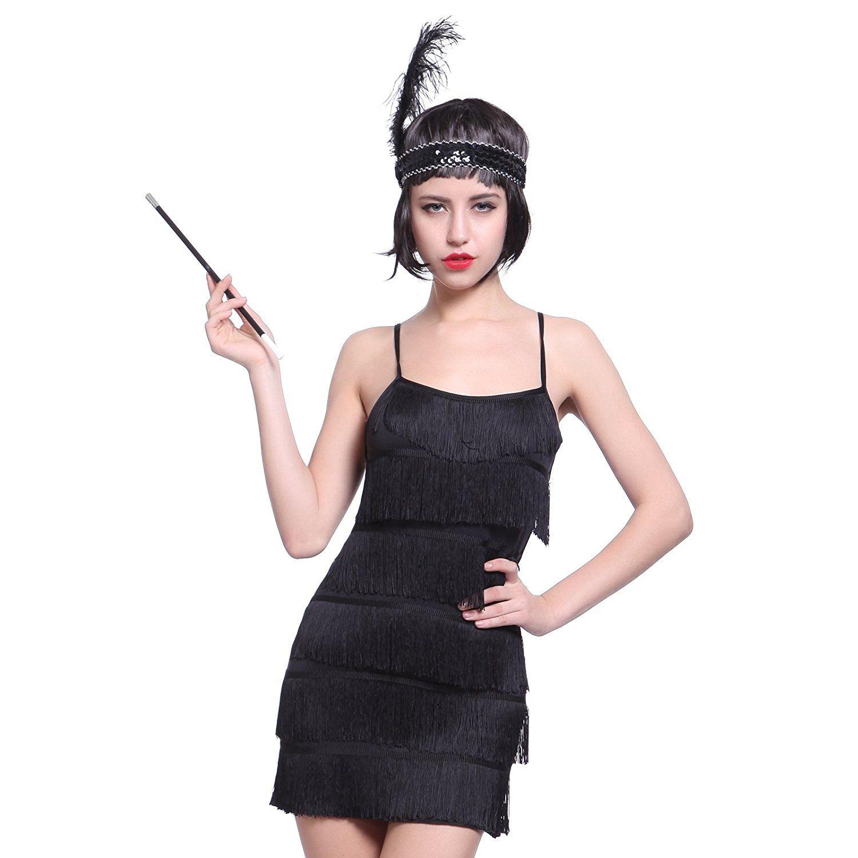 Anladia 20er Fransen Flapper Kleider Fransenkleid Tanzkleid Charleston  Kostuem mit Zigarrettenhalter Kopfband (S, Schwarz 9dd33c8613