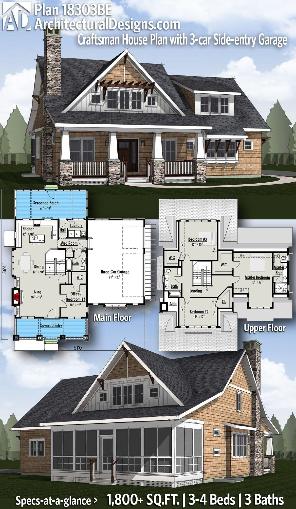 Plan 18303be Craftsman House Plan With 3 Car Side Entry Garage Craftsman Bungalow House Plans Craftsman House Plan Craftsman House