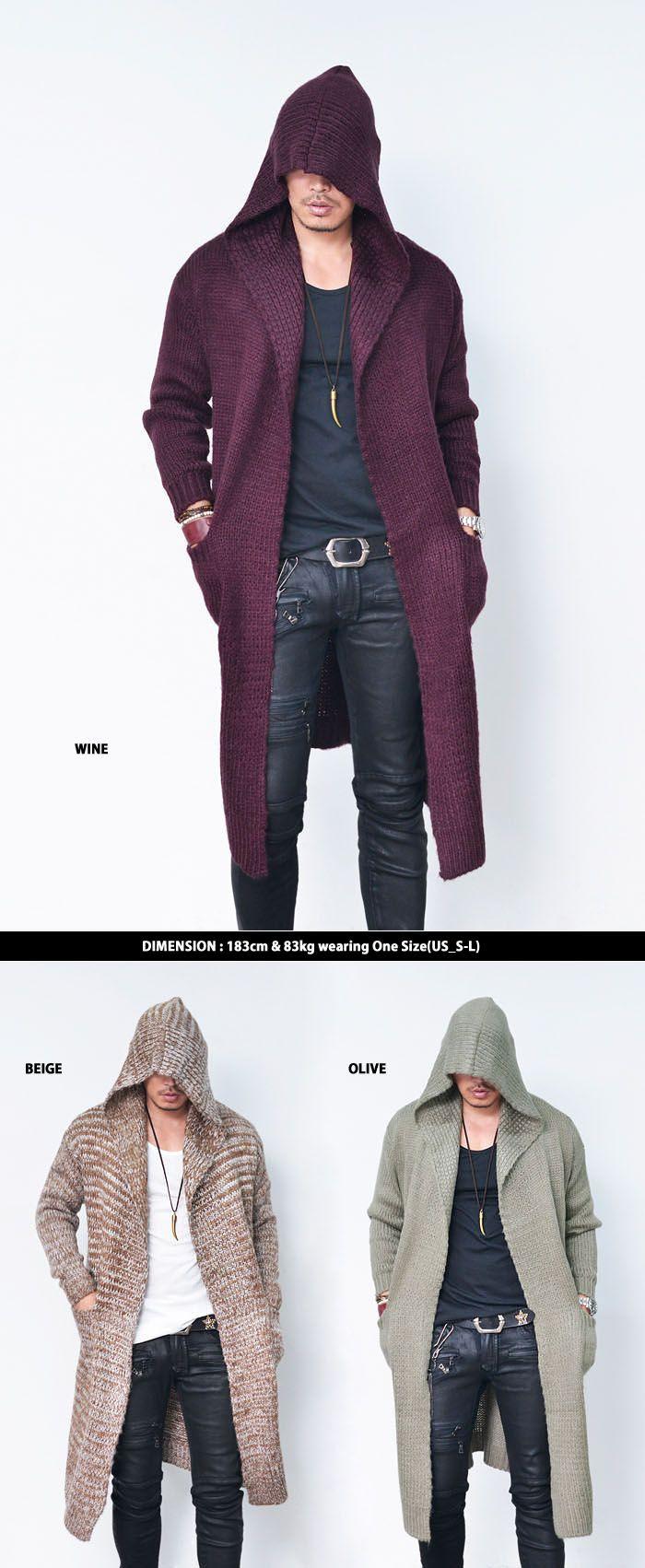 Big Hood Wool Cape Long Jacket-Cardigan 142 - GUYLOOK | clothes ...