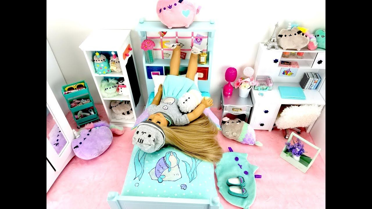 PUSHEEN CAT BEDROOM SET UP FOR AMERICAN GIRL DOLL Cat