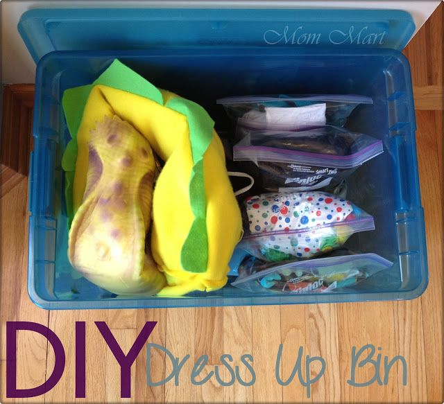 DIY Dress Up Bin - has a list of costume ideas to include as well as a list for each costume and pictures. #BoredJar #KidCraft