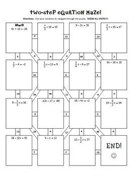 Two-Step Equations Notes & Maze Activity | Two step ...