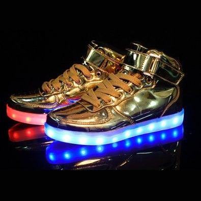 Men's Golden LED Light Up Shoes For
