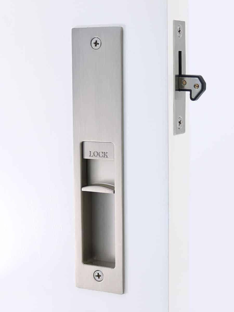 Milos Cavity Slider Lock Matte Brushed Nickel For Sliding Doors 1000 In 2020 Sliding Door Hardware Sliding Barn Door Hardware Sliding Doors
