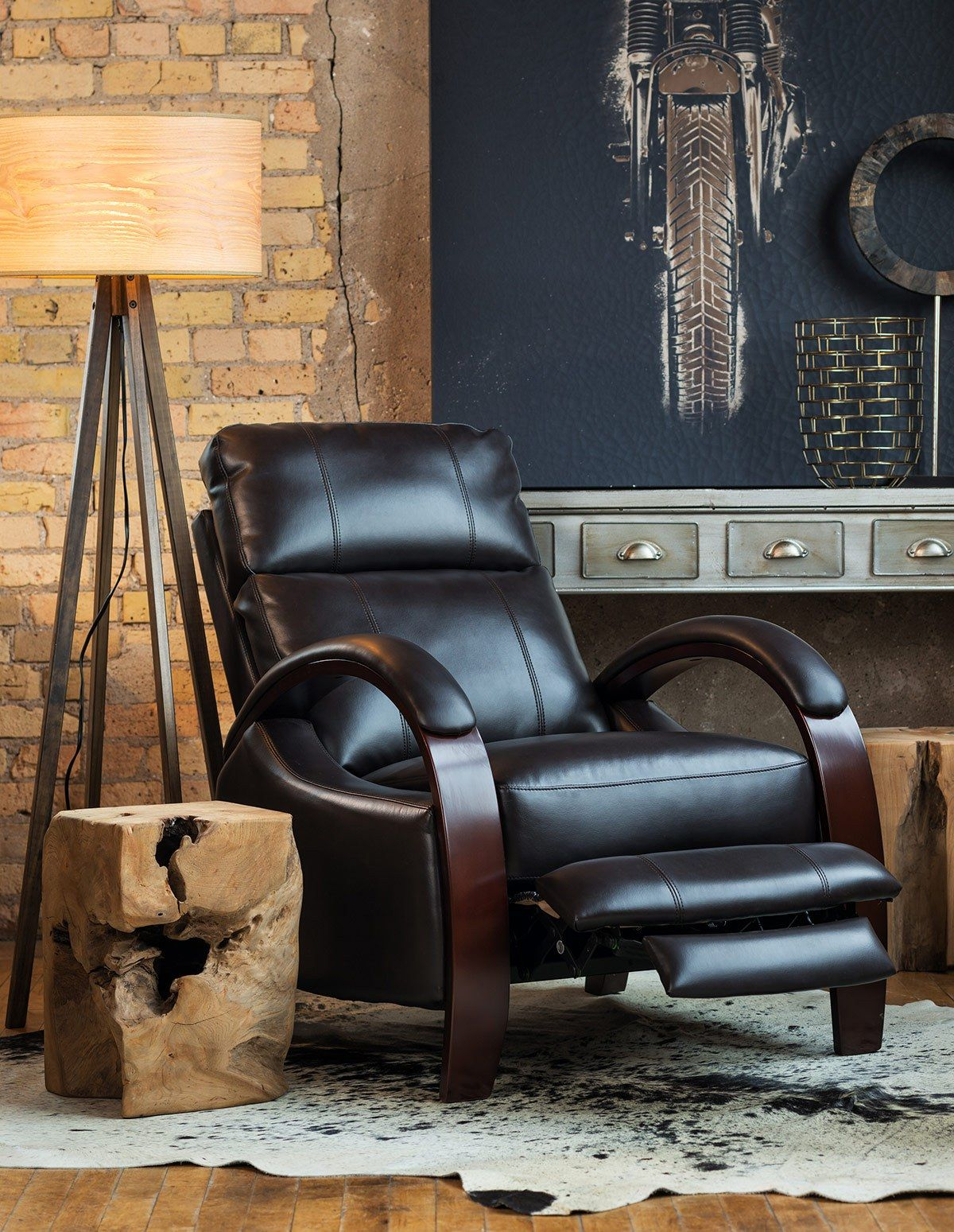 Modern black reclining chair for dad loft living space