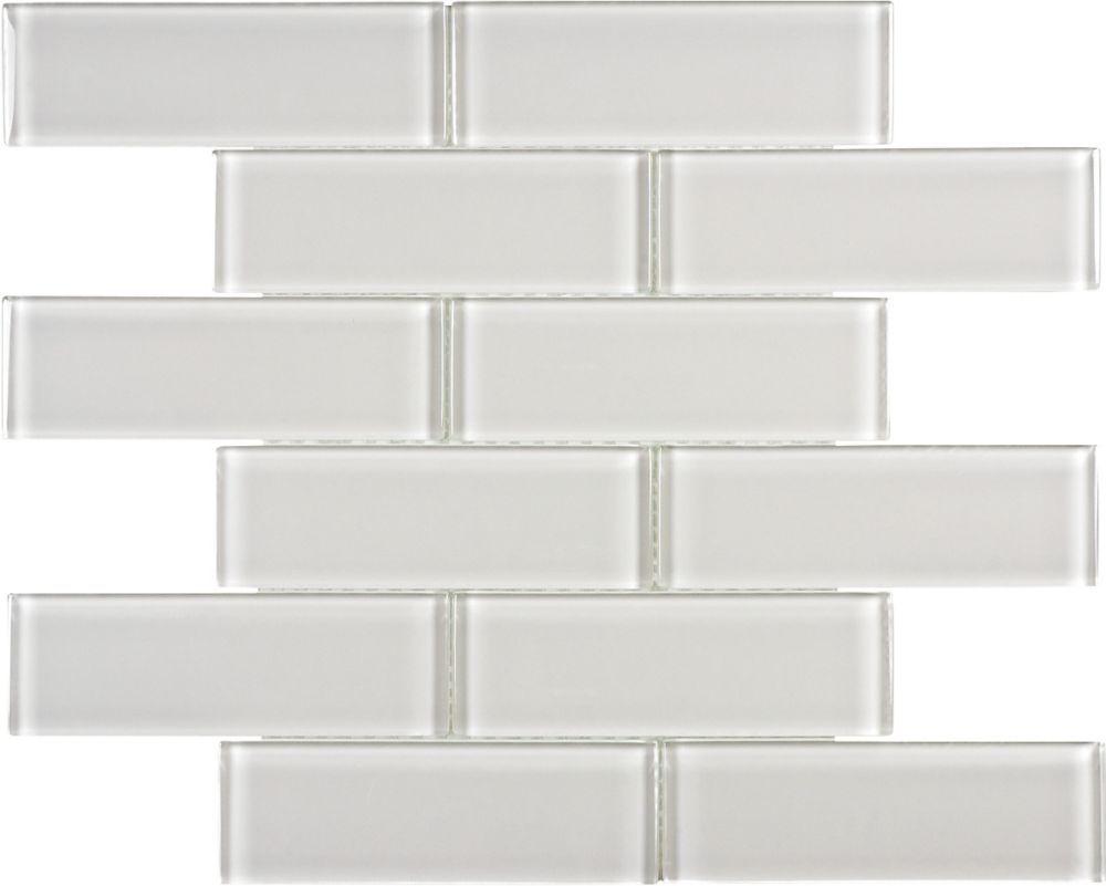 Sassi 2x6 Arctic Fog Glass Brick Mosaics The Home Depot Canada Glass Brick Mosaic House Shower Wall Options